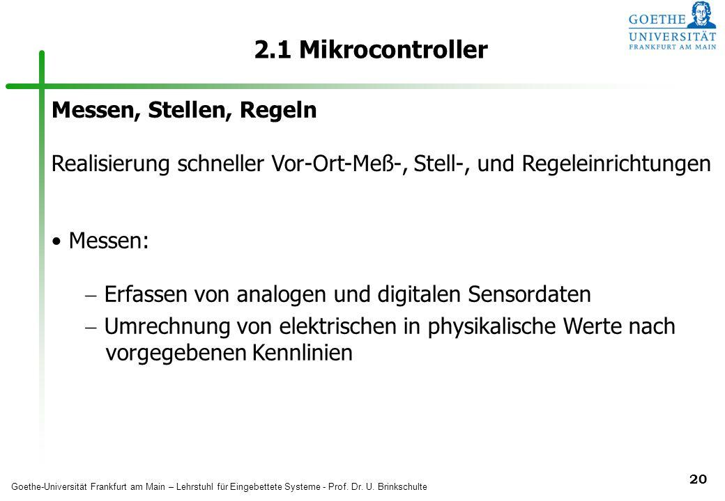 2.1 Mikrocontroller Messen, Stellen, Regeln