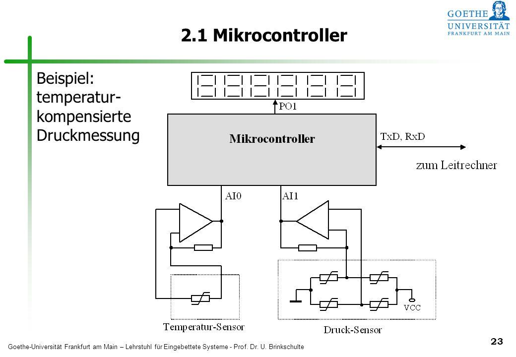 2.1 Mikrocontroller Beispiel: temperatur- kompensierte Druckmessung