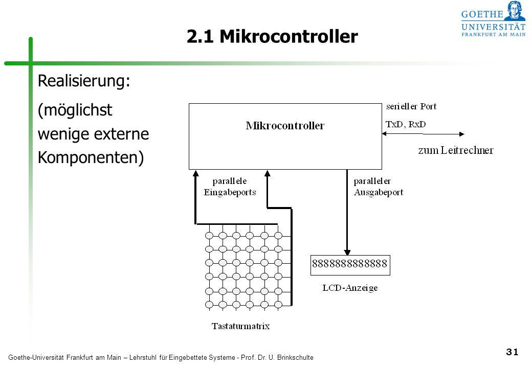 2.1 Mikrocontroller Realisierung: (möglichst wenige externe