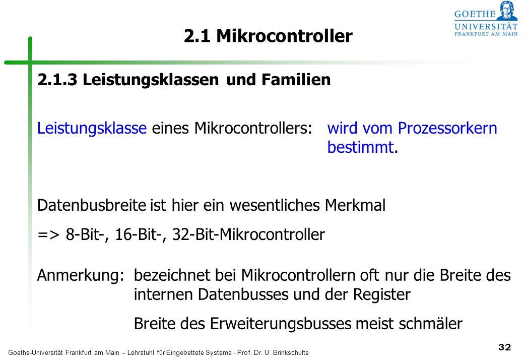 2.1 Mikrocontroller 2.1.3 Leistungsklassen und Familien