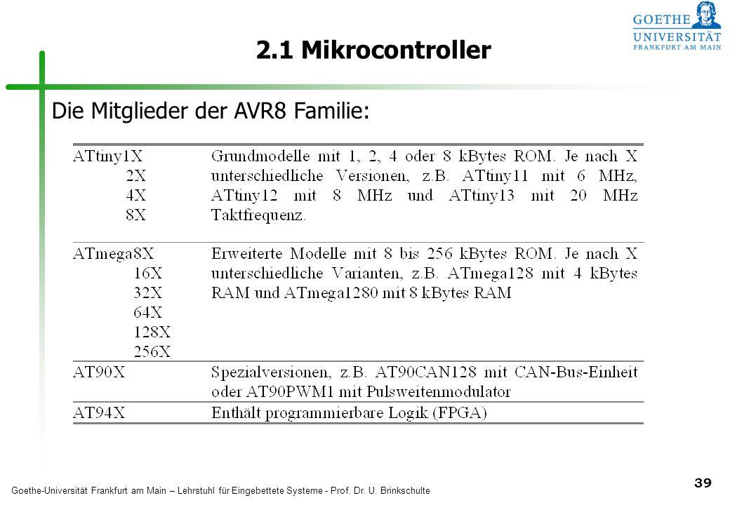 2.1 Mikrocontroller Die Mitglieder der AVR8 Familie:
