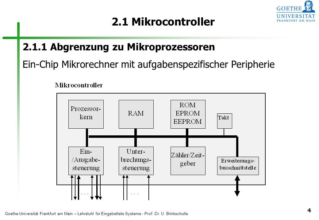 2.1 Mikrocontroller 2.1.1 Abgrenzung zu Mikroprozessoren