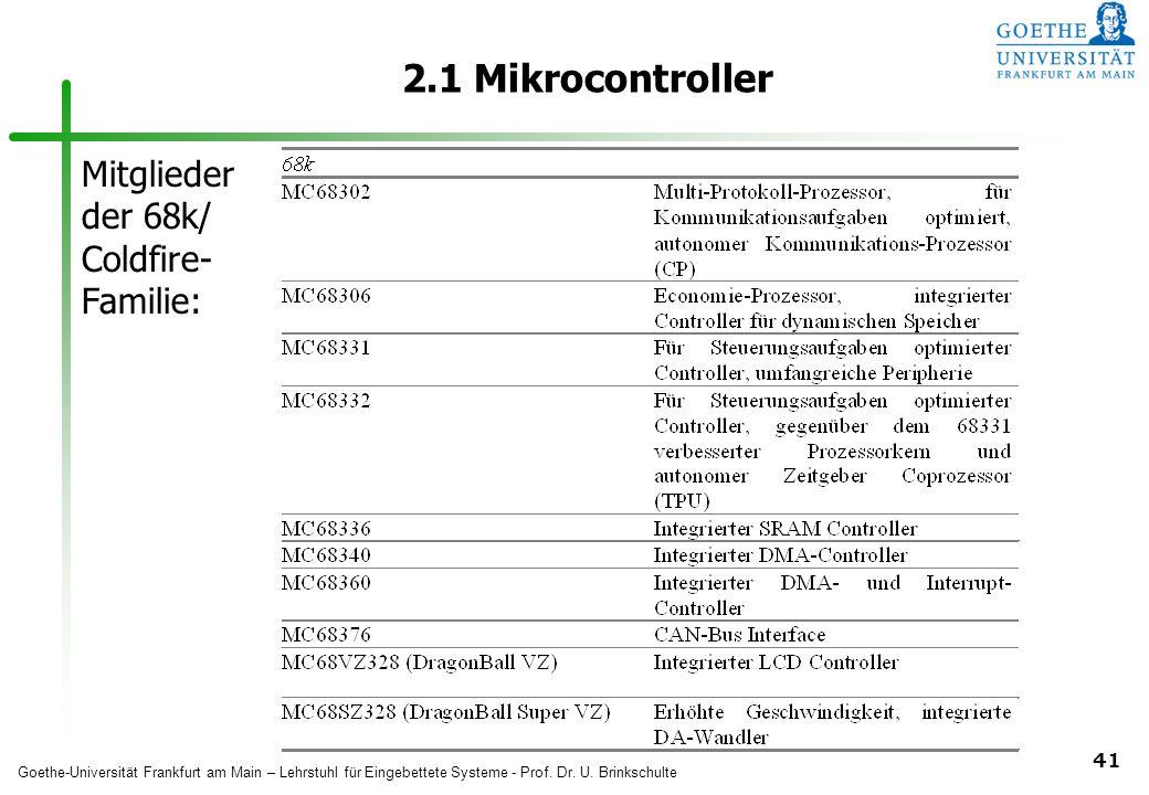 2.1 Mikrocontroller Mitglieder der 68k/ Coldfire- Familie: