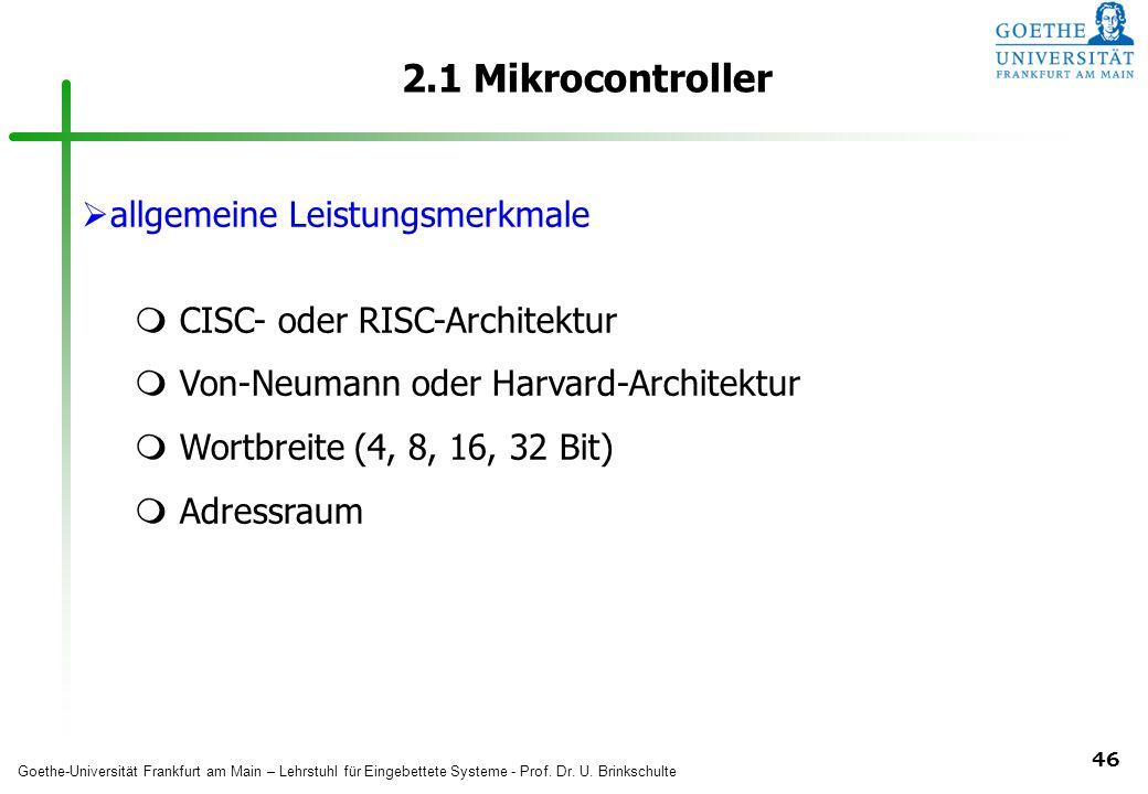 2.1 Mikrocontroller allgemeine Leistungsmerkmale
