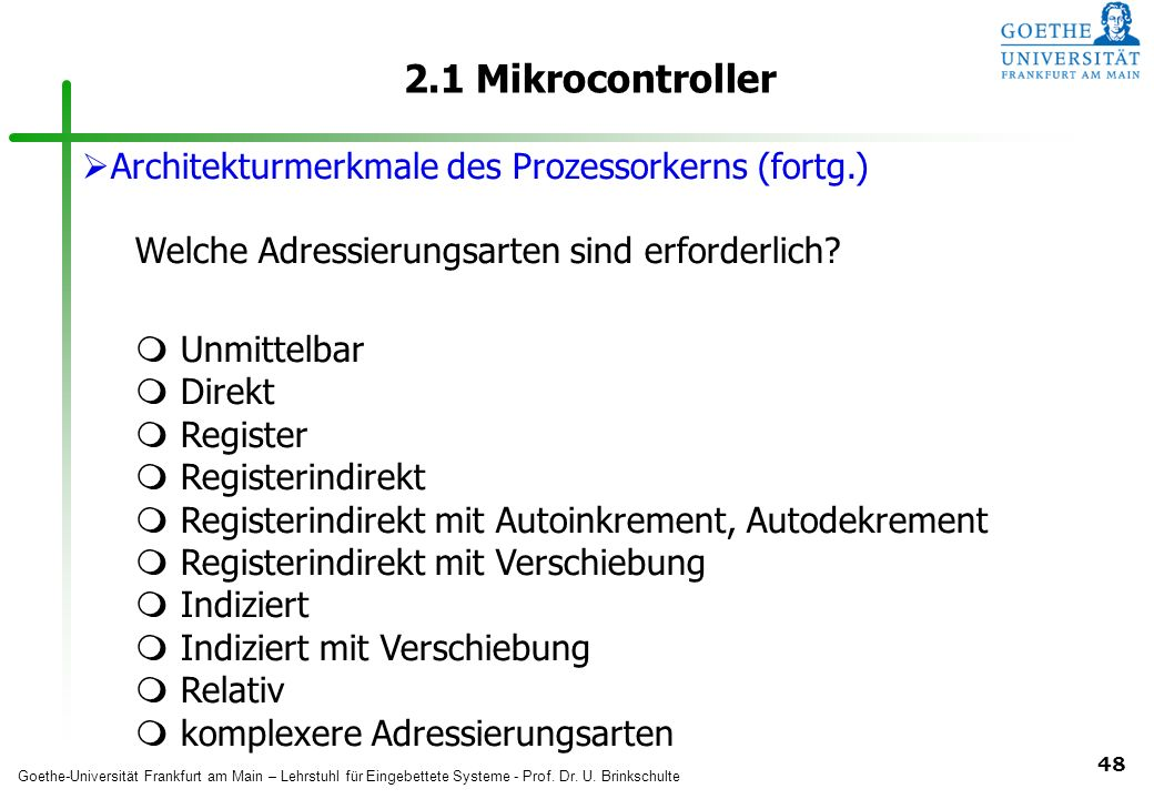2.1 Mikrocontroller Architekturmerkmale des Prozessorkerns (fortg.)