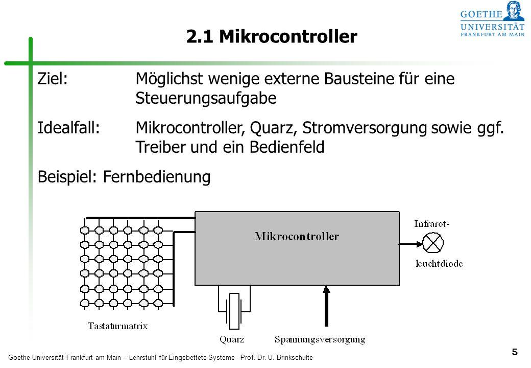 2.1 Mikrocontroller Ziel: Möglichst wenige externe Bausteine für eine Steuerungsaufgabe.