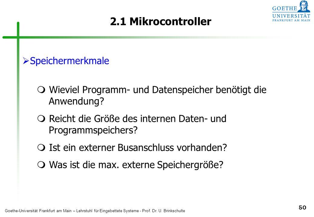 2.1 Mikrocontroller Speichermerkmale