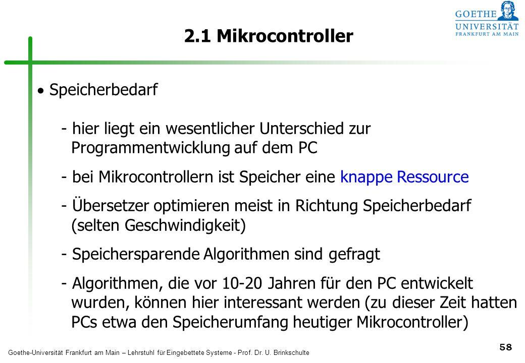 2.1 Mikrocontroller Speicherbedarf