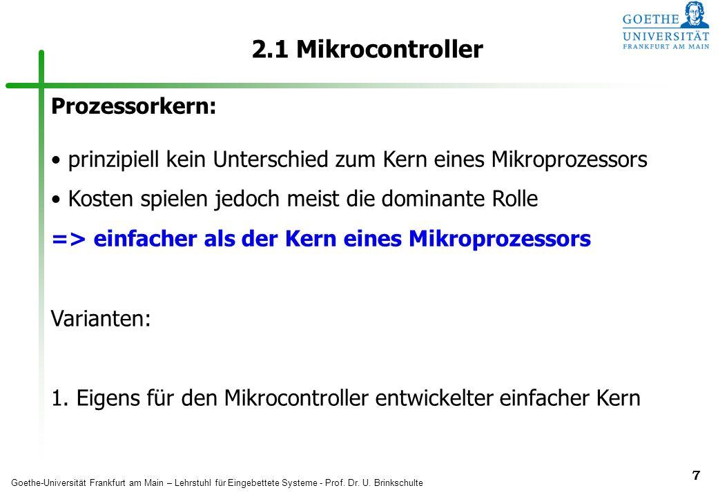 2.1 Mikrocontroller Prozessorkern: