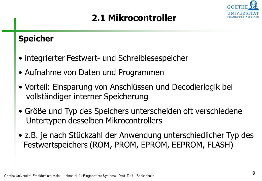 2.1 Mikrocontroller Speicher
