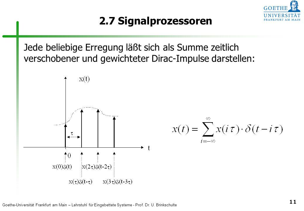 2.7 Signalprozessoren Jede beliebige Erregung läßt sich als Summe zeitlich verschobener und gewichteter Dirac-Impulse darstellen:
