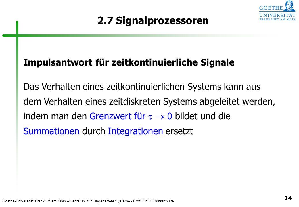 2.7 Signalprozessoren Impulsantwort für zeitkontinuierliche Signale