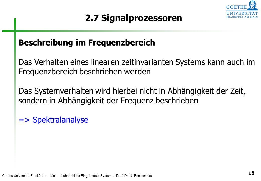 2.7 Signalprozessoren Beschreibung im Frequenzbereich