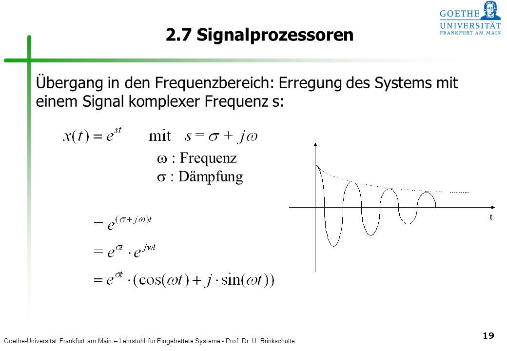 2.7 Signalprozessoren Übergang in den Frequenzbereich: Erregung des Systems mit einem Signal komplexer Frequenz s: