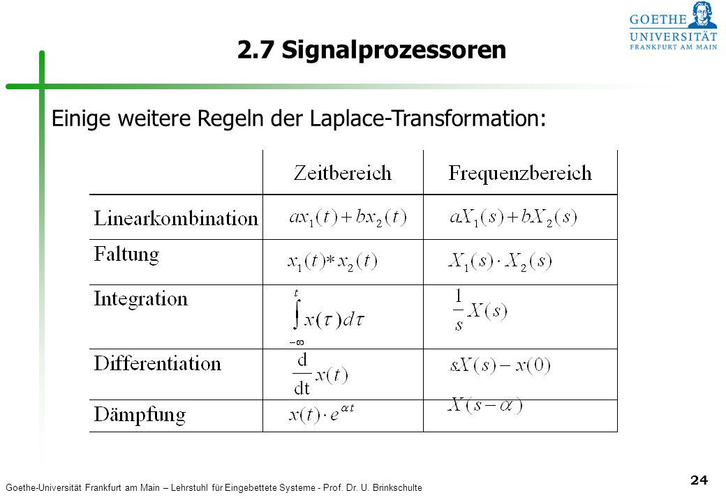 2.7 Signalprozessoren Einige weitere Regeln der Laplace-Transformation: