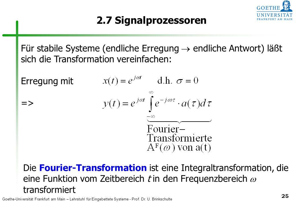 2.7 Signalprozessoren Für stabile Systeme (endliche Erregung  endliche Antwort) läßt sich die Transformation vereinfachen: