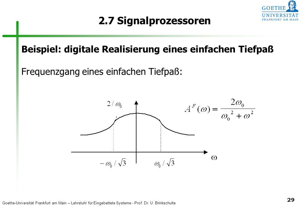 2.7 Signalprozessoren Beispiel: digitale Realisierung eines einfachen Tiefpaß.