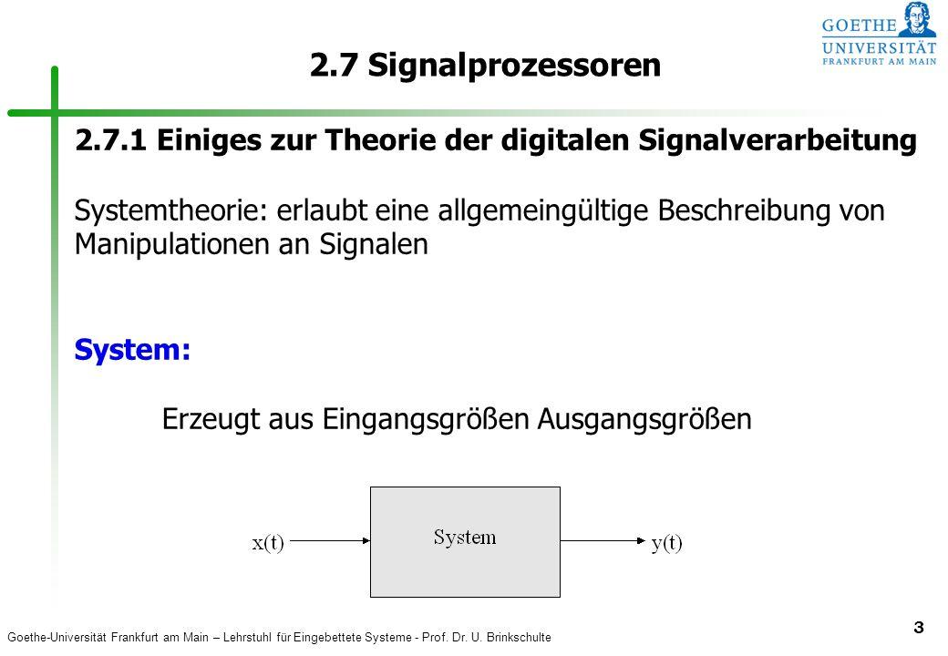 2.7 Signalprozessoren 2.7.1 Einiges zur Theorie der digitalen Signalverarbeitung.
