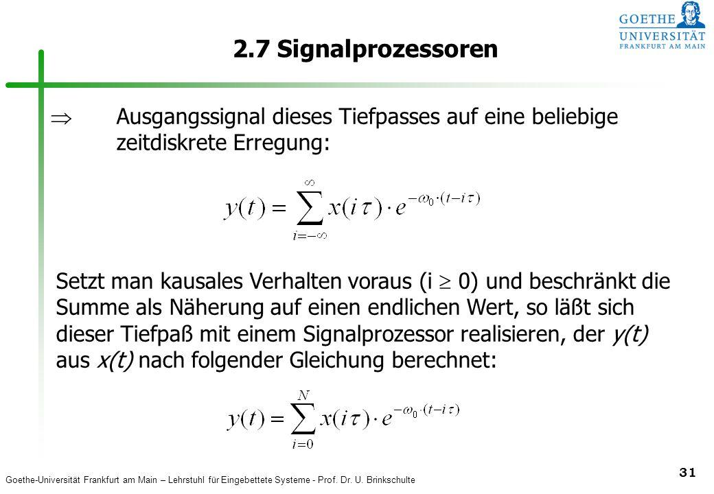 2.7 Signalprozessoren  Ausgangssignal dieses Tiefpasses auf eine beliebige zeitdiskrete Erregung: