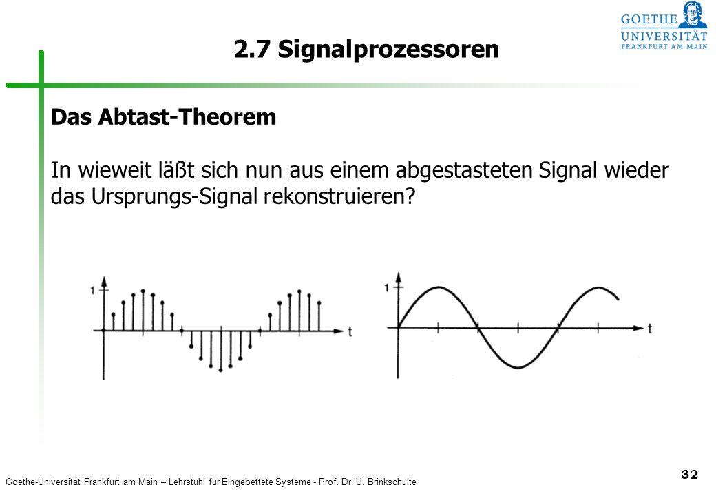 2.7 Signalprozessoren Das Abtast-Theorem