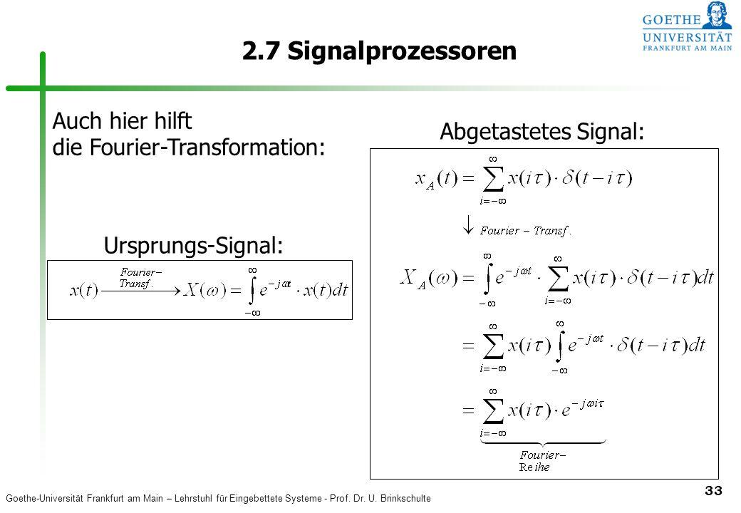 2.7 Signalprozessoren Auch hier hilft Abgetastetes Signal: