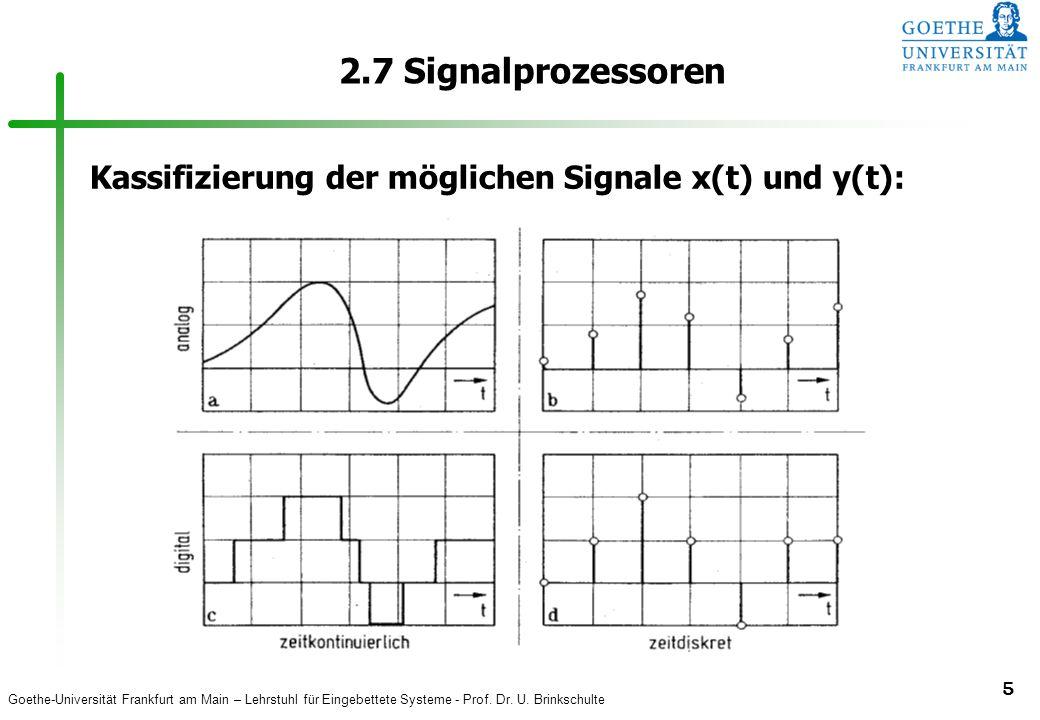 2.7 Signalprozessoren Kassifizierung der möglichen Signale x(t) und y(t):