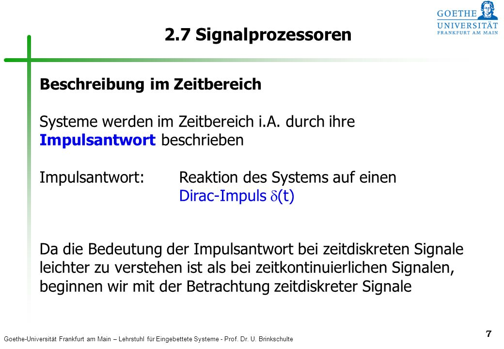2.7 Signalprozessoren Beschreibung im Zeitbereich