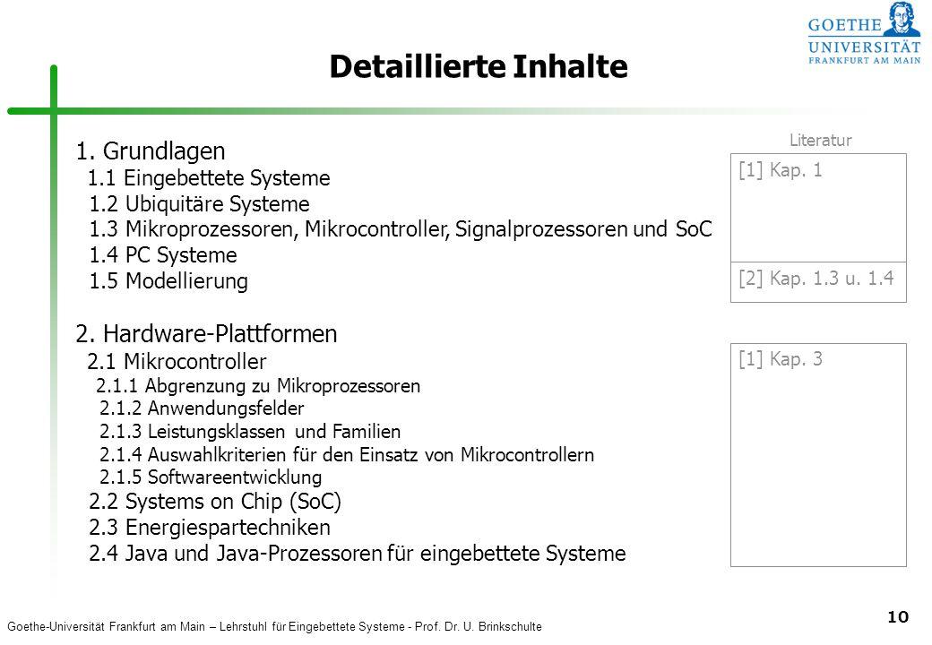 Detaillierte Inhalte 1. Grundlagen 2. Hardware-Plattformen