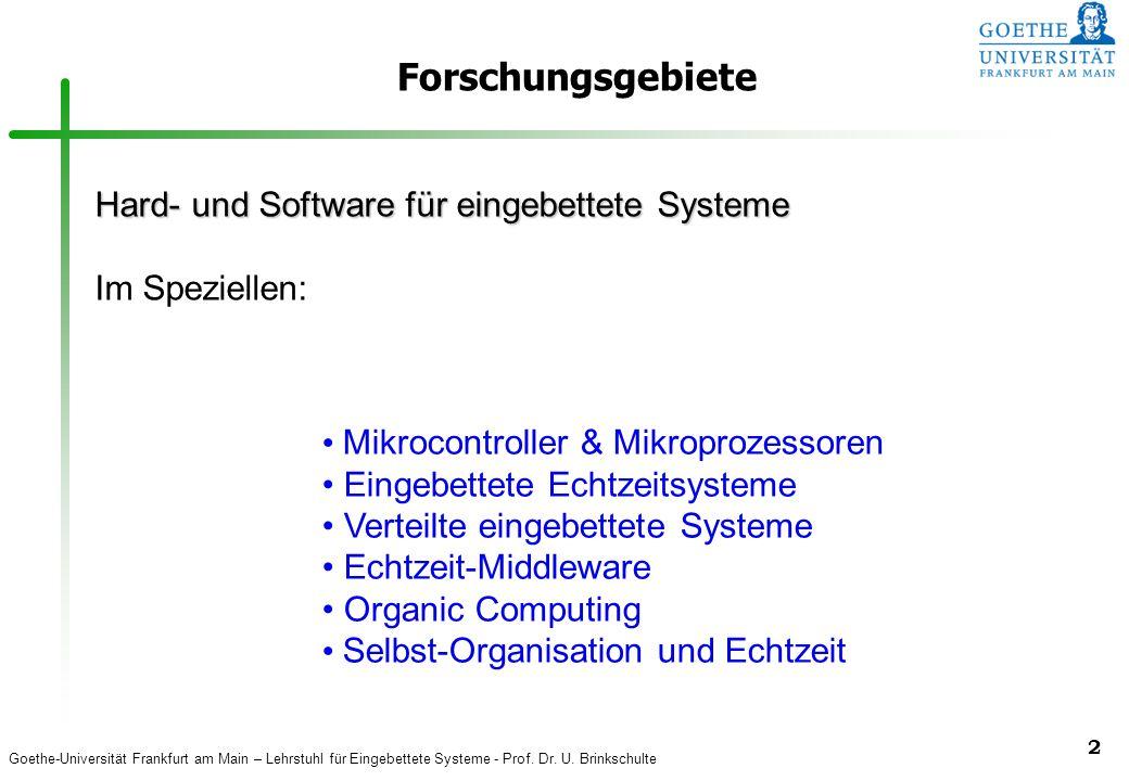 Forschungsgebiete Hard- und Software für eingebettete Systeme