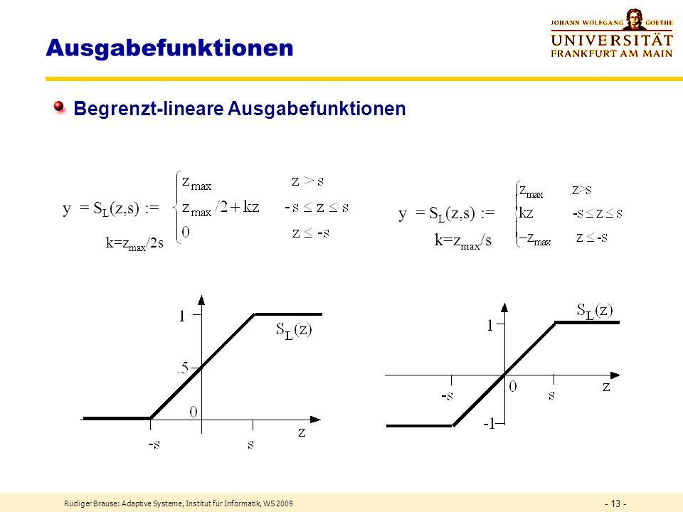 Ausgabefunktionen Begrenzt-lineare Ausgabefunktionen y = SL(z,s) :=