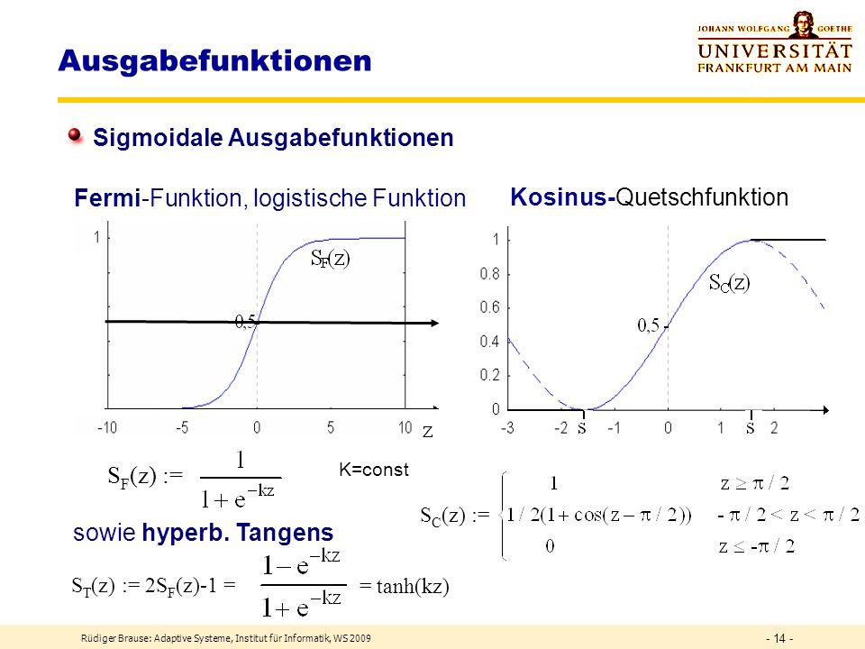 Ausgabefunktionen Sigmoidale Ausgabefunktionen Kosinus-Quetschfunktion
