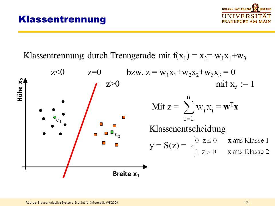 Klassentrennung Klassentrennung durch Trenngerade mit f(x1) = x2= w1x1+w3. z<0 z=0 bzw. z = w1x1+w2x2+w3x3 = 0.