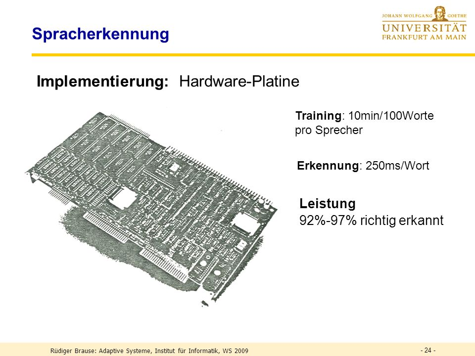 Spracherkennung Implementierung: Hardware-Platine Leistung