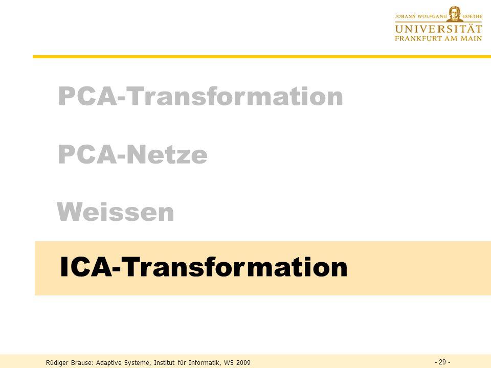 ICA-Transformation PCA-Transformation PCA-Netze Weissen