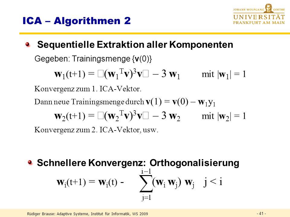 w1(t+1) = á(w1Tv)3vñ – 3 w1 mit |w1| = 1