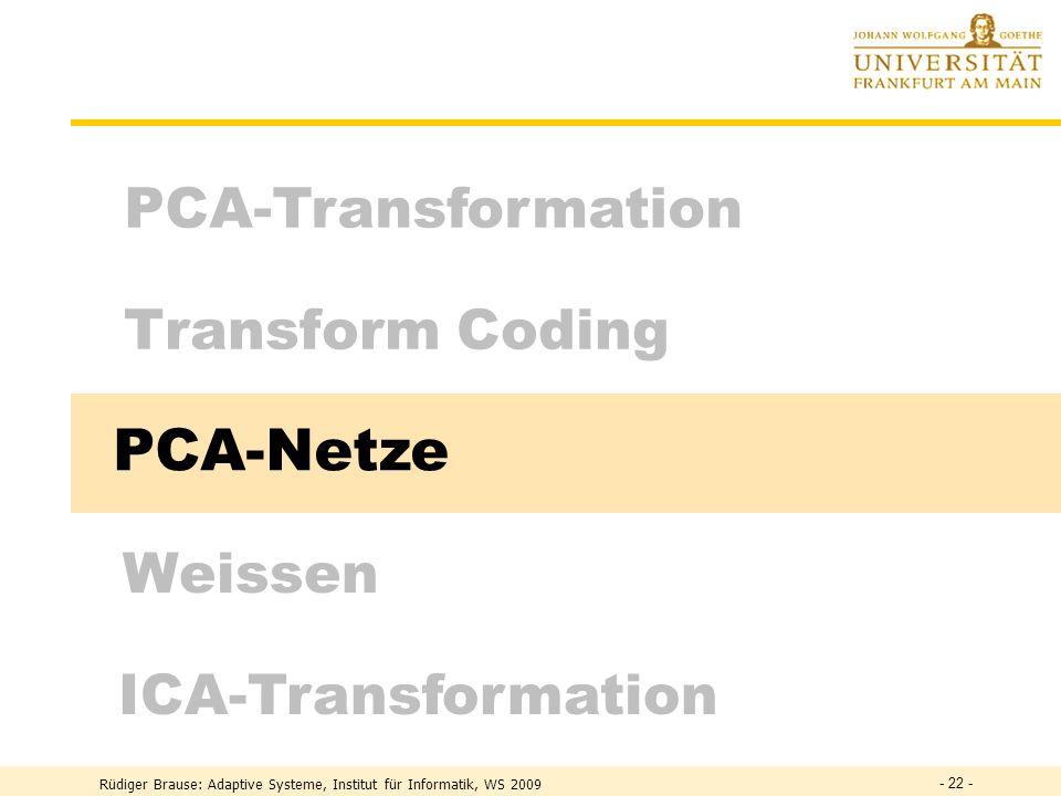 PCA-Netze PCA-Transformation Transform Coding Weissen