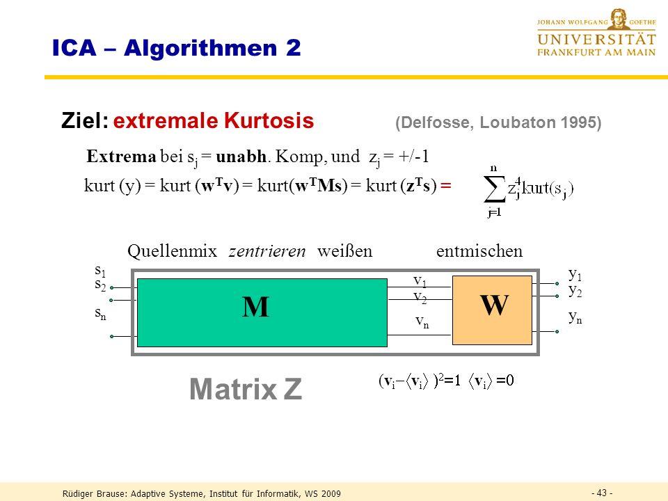 M W Matrix Z ICA – Algorithmen 2