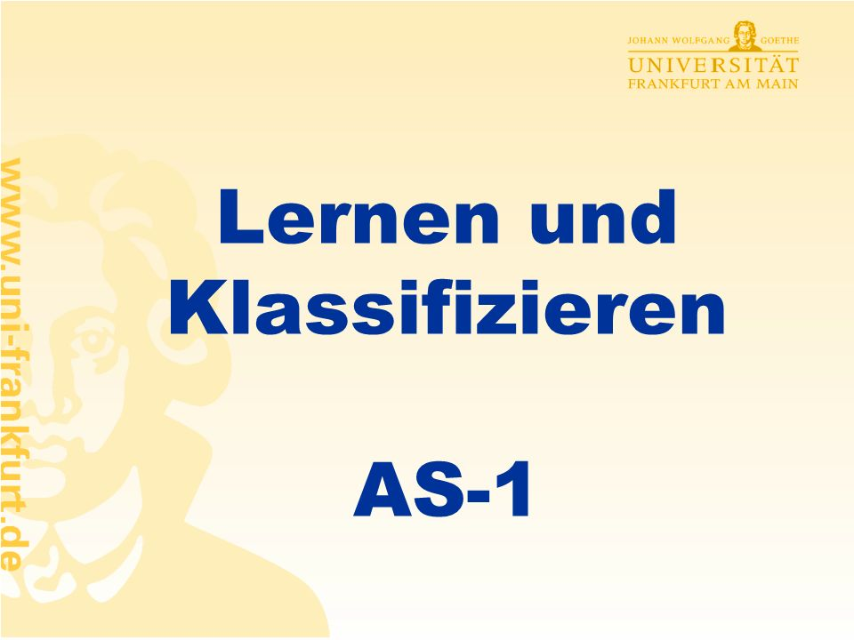 Lernen und Klassifizieren AS-1