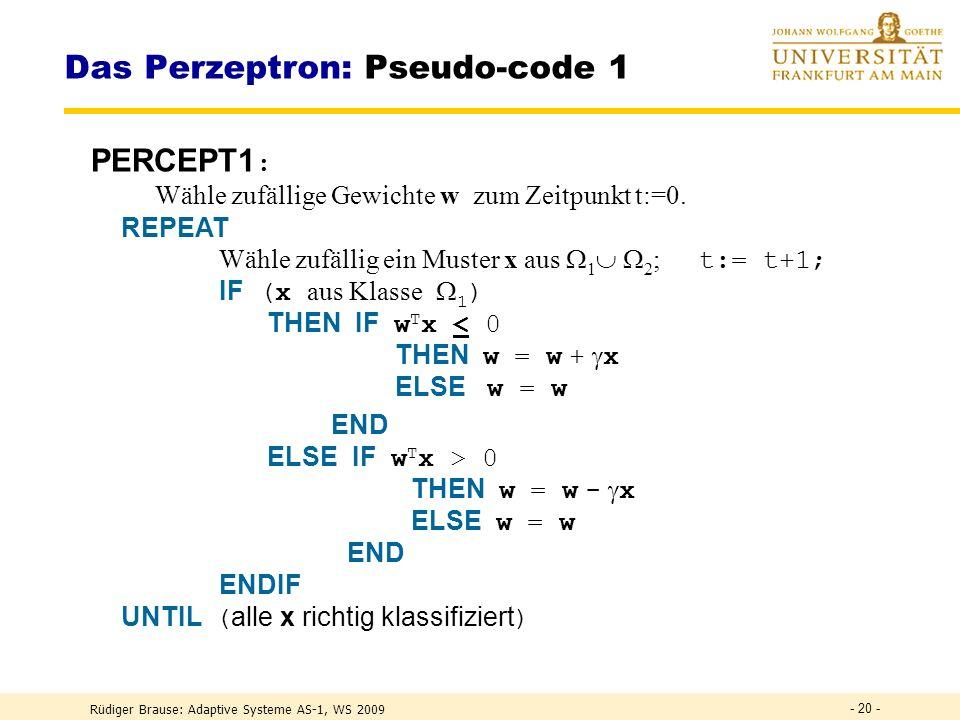 Das Perzeptron: Pseudo-code 1