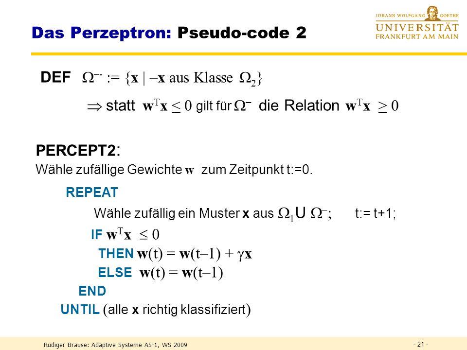 Das Perzeptron: Pseudo-code 2