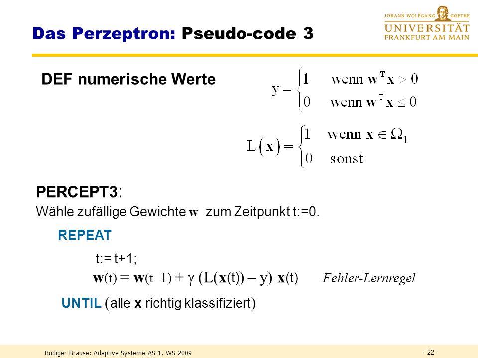 Das Perzeptron: Pseudo-code 3