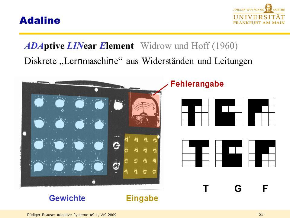Adaline ADAptive LINear Element Widrow und Hoff (1960)