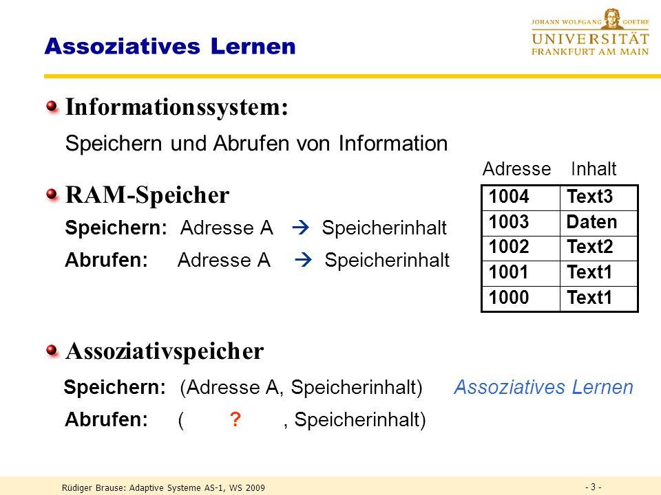 Informationssystem: RAM-Speicher Assoziativspeicher