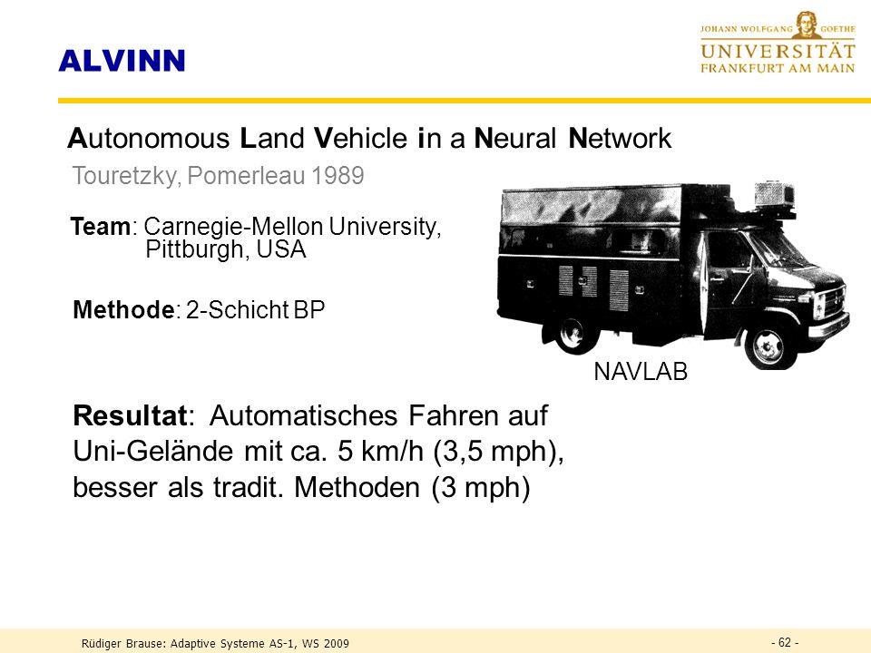ALVINN Autonomous Land Vehicle in a Neural Network