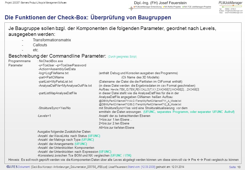 Die Funktionen der Check-Box: Überprüfung von Baugruppen