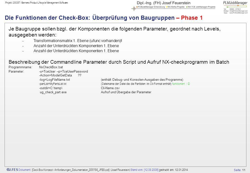Die Funktionen der Check-Box: Überprüfung von Baugruppen – Phase 1