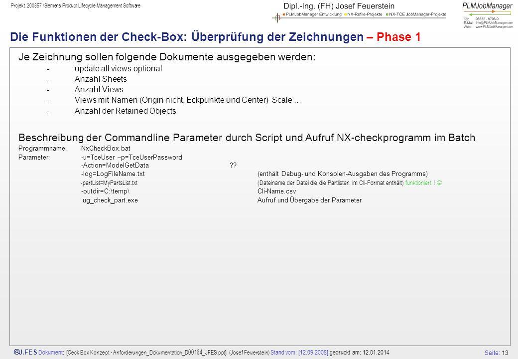 Die Funktionen der Check-Box: Überprüfung der Zeichnungen – Phase 1