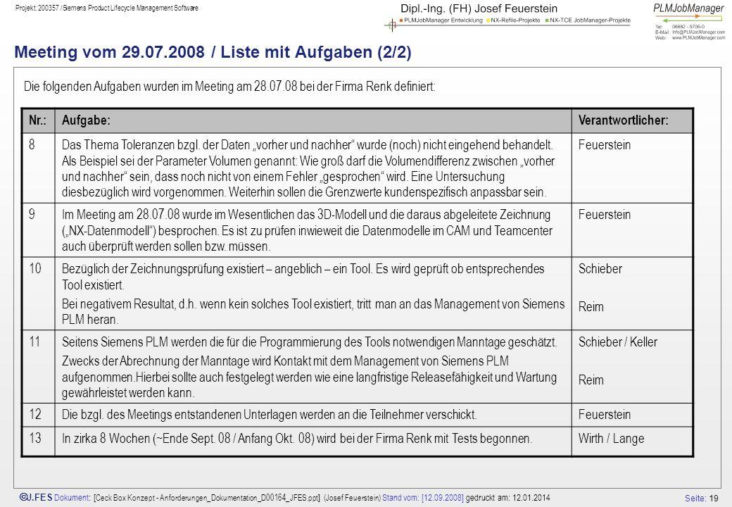 Meeting vom 29.07.2008 / Liste mit Aufgaben (2/2)