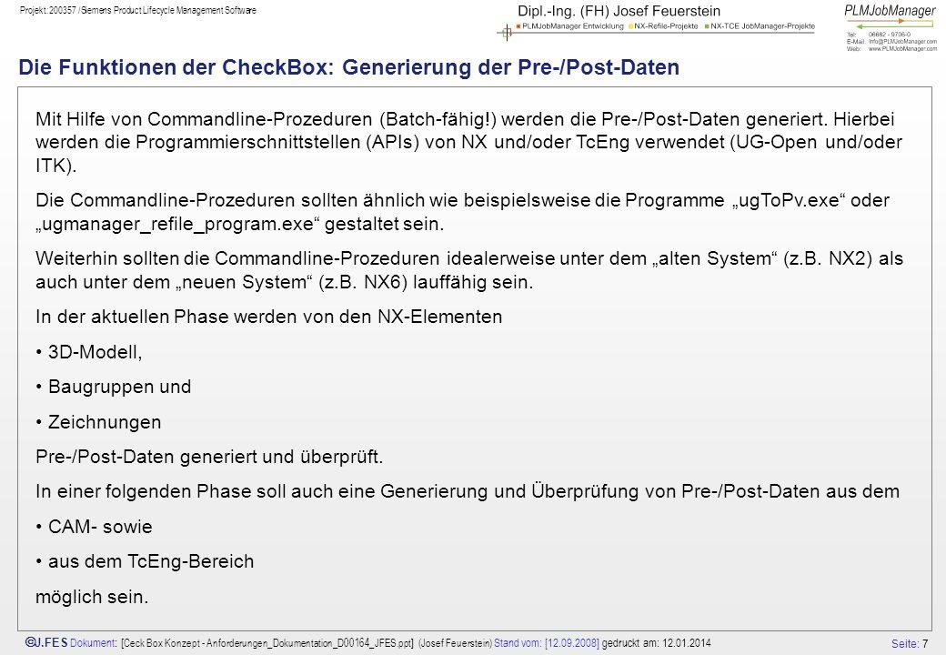 Die Funktionen der CheckBox: Generierung der Pre-/Post-Daten