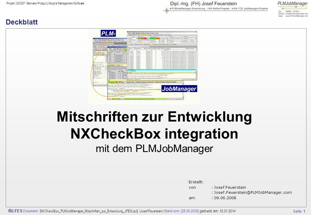 Deckblatt Mitschriften zur Entwicklung NXCheckBox integration mit dem PLMJobManager.